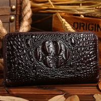 Vintage New style fashion genuine leather men wallets Alligator men purse with high quality male casual clutch bags