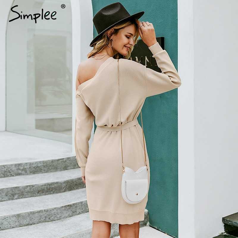 Simplee מזדמן סרוג סוודר שמלת סתיו חורף אחד כתף כפתורי נשים loose midi שמלה אלגנטי חגור סריגה שמלות