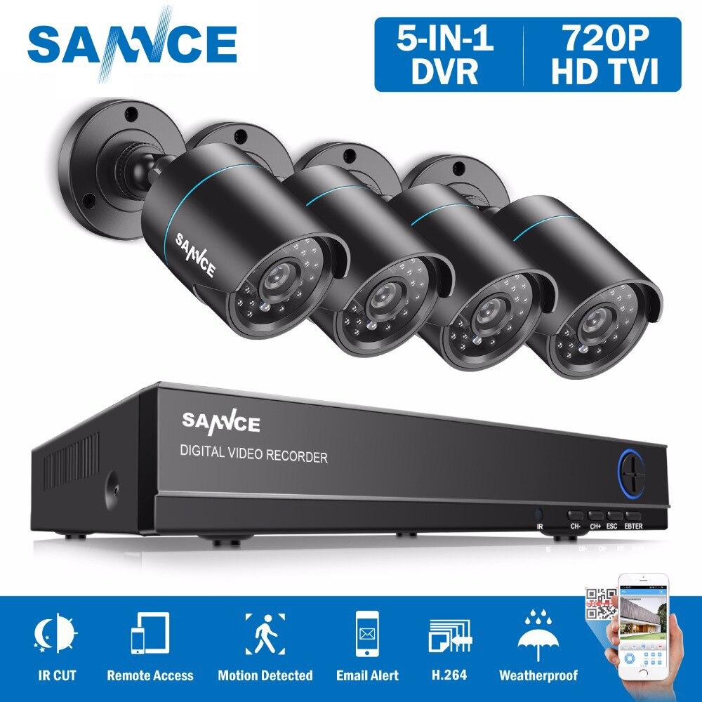 SANNCE 8CH 1080N DVR 720 P CCTV Системы 4 шт. 720 P 1MP камер безопасности ИК Открытый IP66 видеонаблюдения комплект обнаружения движения