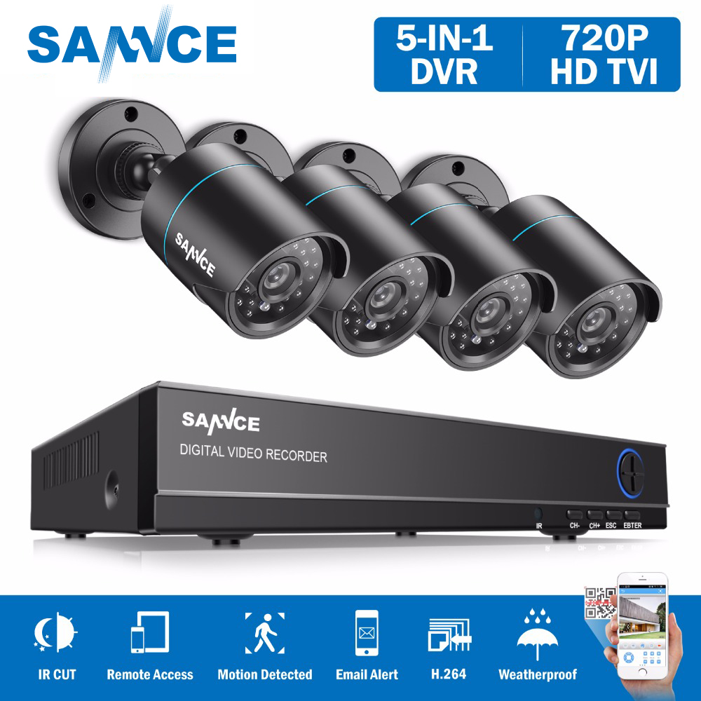 CAMERA SANNCE 8CH 1080N DVR 720 p CCTV Sistema 4 pz 720 p 1MP Telecamere di Sicurezza esterna di IR IP66 Video di Sorveglianza kit motion detection