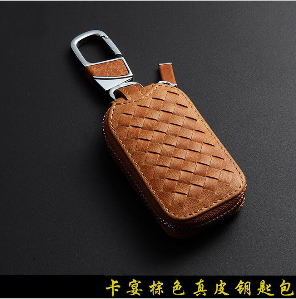 NEW Fashion Genuine Cow Leather Sennit Styling Car Auto Home Using Key Chain Keyrings Ring Case Holder Cover Bag Car Gift Brown