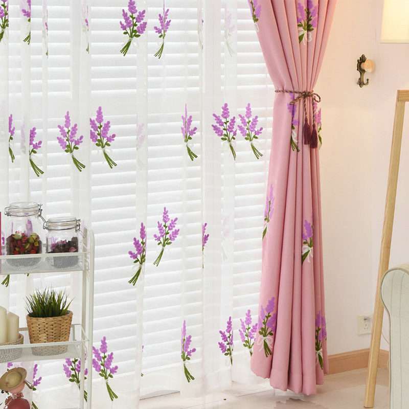 Simple White Lavender Embroidered Tulle Embroidered Voile Curtains
