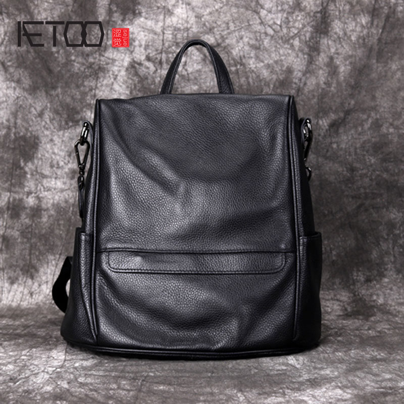7701d7fd4475 AETOO Leather ladies shoulder bag soft leather new fashion travel backpack  casual top layer cowhide