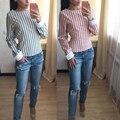 Rosa cor de Tarja camisas Tees T-shirt Cruz de Volta Sem Encosto de Manga Longa O Pescoço Tops Para As Mulheres