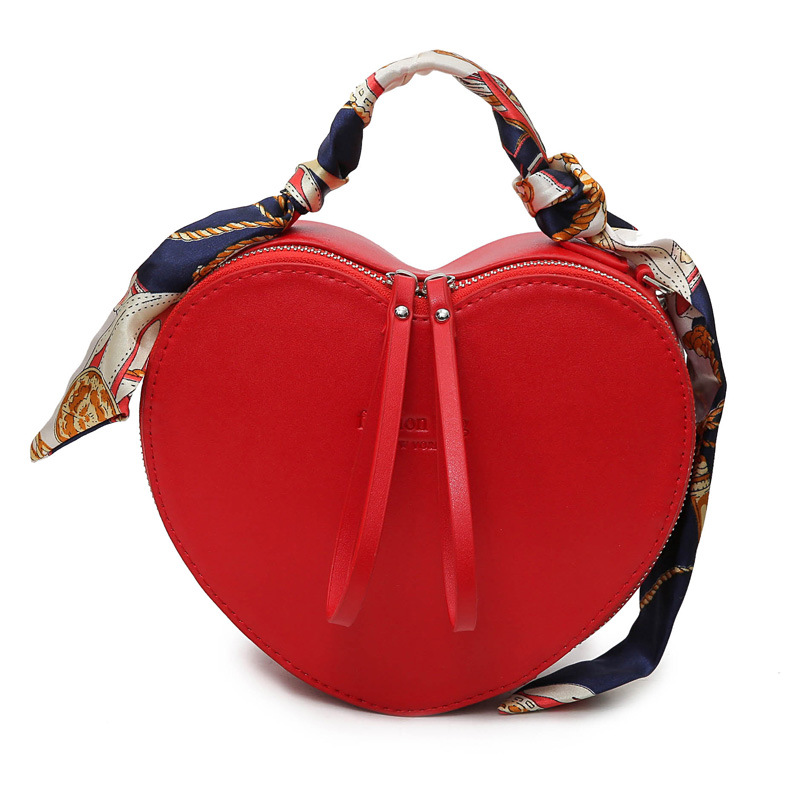 2018 New Fashion Totes Heart Shaped Luxury Handbags Women Bags Design PU Leather Crossbody Bag Scarf Handle Shoulder Bag