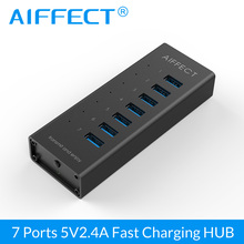 Aiffect 7 Port Super Speed Aluminum BC1.2 USB Charging Ports with USB 3.0 Hub 12V 2A for iPhone Xiaomi HTC LG 100CM Data Cable orico m3h73p aluminum usb hub splitter super speed 5gbps 7 usb3 0 ports 3 usb charging ports for charging