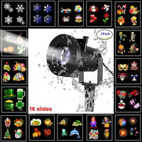 16 Patterns 8W Remote Christmas Stage Light Projector Lamp Waterproof Spotlight Halloween Home Party Holiday Decoration