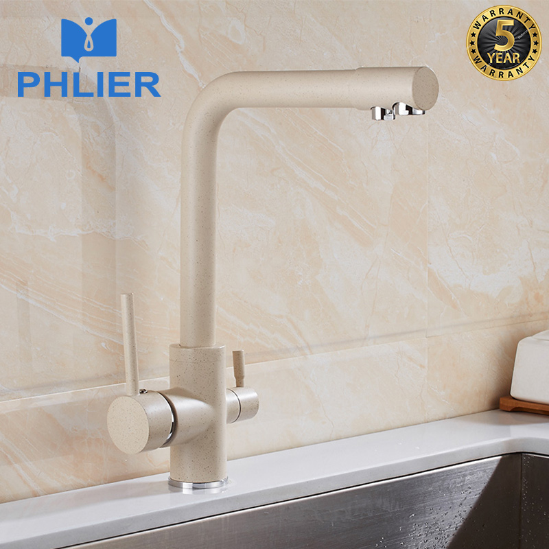PHLIER Drink Water Kitchen Faucets Multi-color 360 Degree Rotation 3 Way Water Filter Purifier Kitchen Sink Taps Brass Mixer sognare 100% brass marble painting swivel drinking water faucet 3 way water filter purifier kitchen faucets for sinks taps d2111
