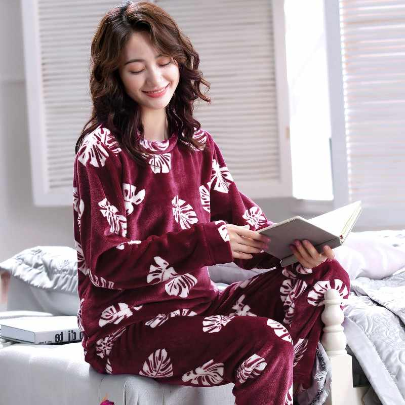 Winter Warm Flannel Elegant Women Sleepwear Pajamas lady Floral Print  Pajama Set Pullover Coral Fleece Pijamas a1206d1f6