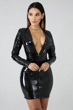 JRRY Women PU Leather Dresses Zippers Faux PU Leather Dress High Elasticity Sheath Dress Deep V Neck Faux Leather Short Dress 8