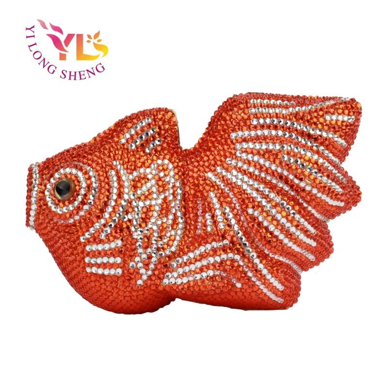 все цены на Luxury Women Crystal RED FSIH Clutch Ladies New Designs Handbags Crystal Fish Clutch Designs Handbags Crossbody Bags YLS-A36