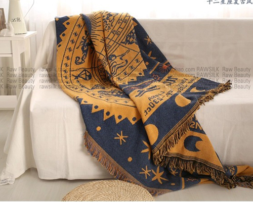Hand gewebt Reiner baumwolle Retro starry sky teppich dünne decke Ethnische Kunst Werfen Matte decke bett abdeckung Filze tapisserie 130X170 CM - 2