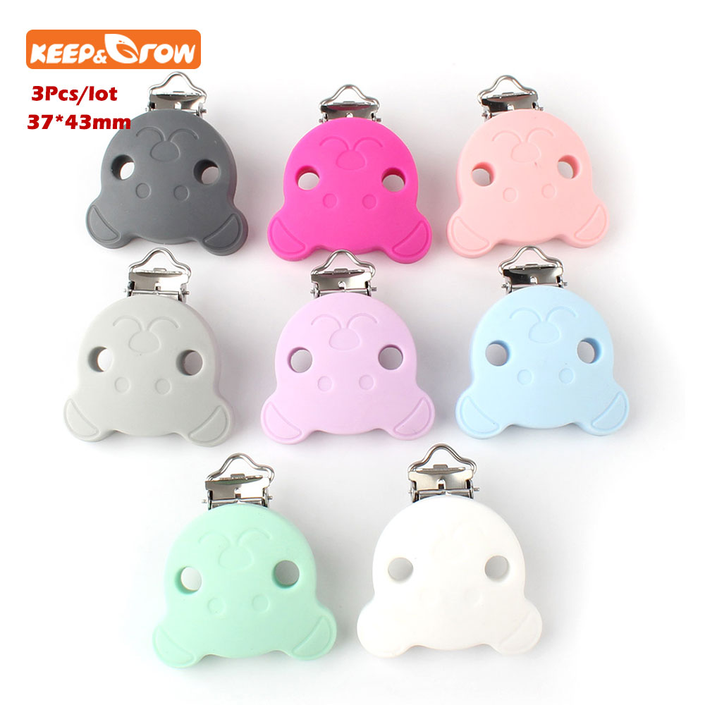 Keep&grow 3Pcs BPA Free Silicone Bear Clip DIY Baby Dummy Teether Pacifier Chupetero Chain Craft Clips Nurse Toy Accessories