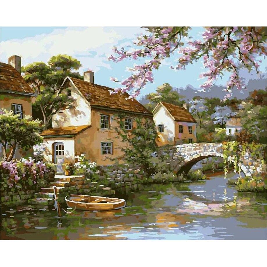 Krajina bezrámová obrazová malba čísly DIY olej na plátně Domácí dekorace do obývacího pokoje 40 * 50 cm