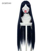 ccutoo 100cm Dark Blue Straight Long Synthetic Hair Naruto Hyuga Hinata Cosplay Costume Wig Heat Resistance Fiber