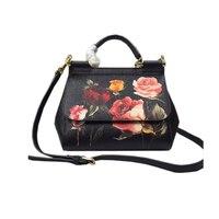 Роскошные итальянские брендовые Сицилии Этническая Цветочные сумка из натуральной кожи Повседневное Tote Платины Женская сумка