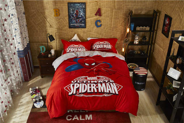 Marvel spider man bed linen 3d bedding twin queen size egyptian cotton comforter cover sets boys gift cartoon home textile girls