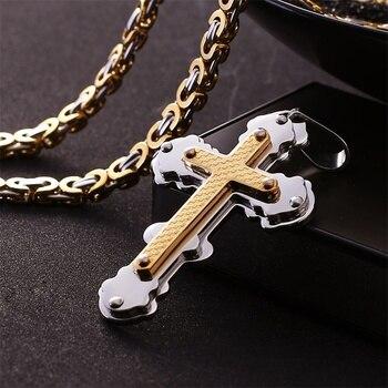 a333b73356b6 De acero inoxidable de Jesús Cristo Cruz colgante de collar bizantino de  cadena de enlace de la antigua Roma ortodoxa collares para hombres joyería  de las ...