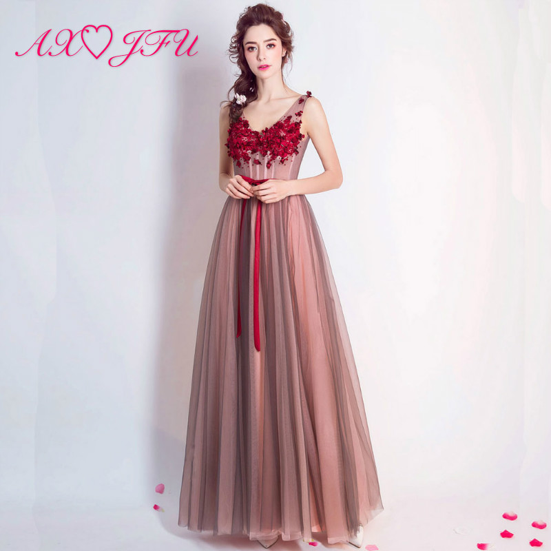 AXJFU Blush Pink lace   evening     dress   Petals Bride temperament   Dress   princess red flower   evening     Dress   5946
