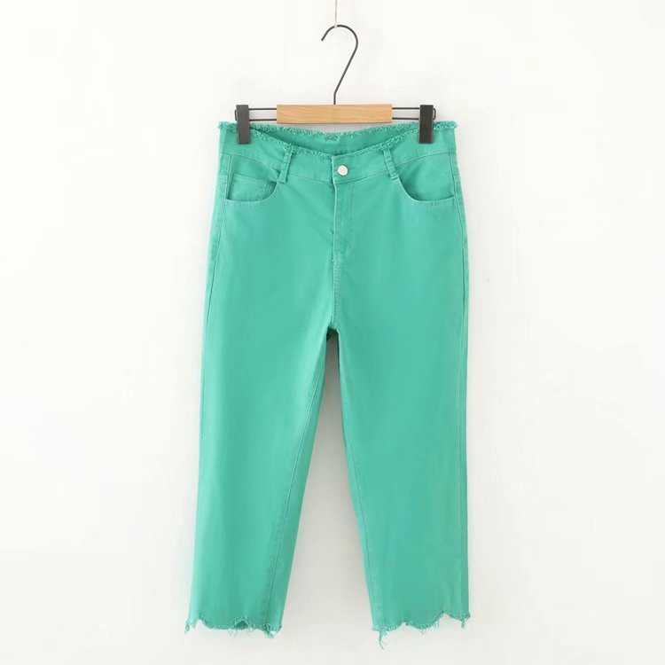 Plus Size Women Cropped Jeans Elastic Candy Color Pencil Pants 7/10 Trousers