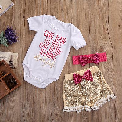 2017 Newborn Cute Baby Girls Clothing Set Cotton crib hair Romper +Sequin Pants+Headband  Outfits 3Pcs Set Clothes