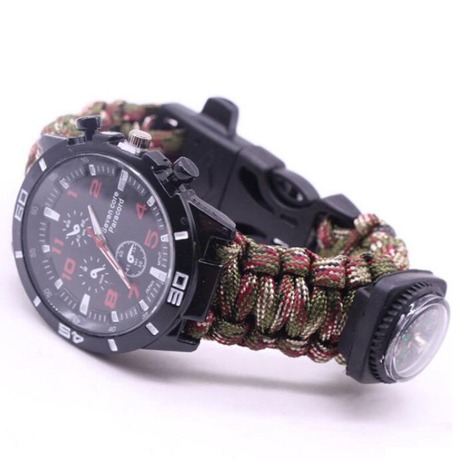 Military Outdoor Paracord Survival Bracelet Compass (9)
