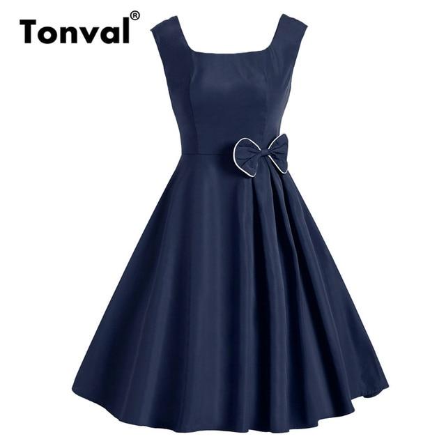 0adb5b4f208 Tonval Rockabilly Square Neck Retro Vintage Bow Dress Women Elegant Solid  High Waist Dress A Line Summer Dresses 2019