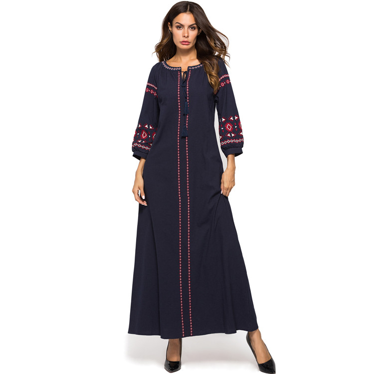 667a0b50b7480 US $24.63 40% OFF|Muslim Women Middle East Maxi Dress Abaya Long Sleeve  Embroidery Tassel Tie Robes Gowns Loose Moroccan Islamic Turkish Clothing  -in ...