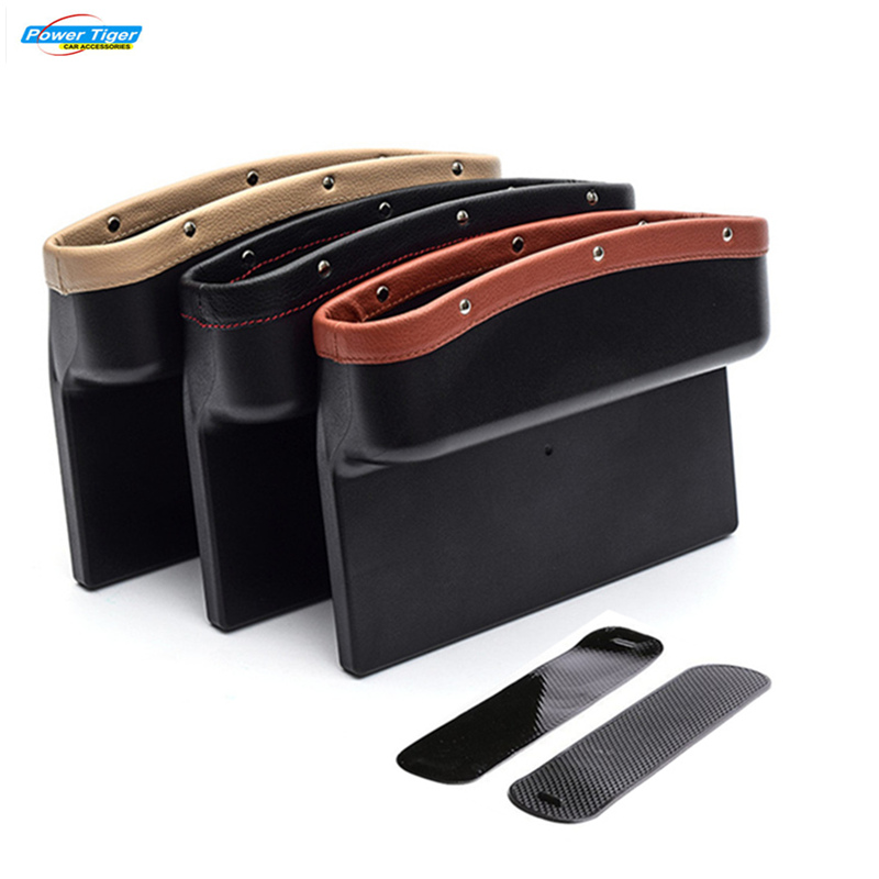 POWERTIGER Car Seat Pockets PU Leather Car Console Side Organizer Seat Gap Filler Catch Caddy for Cellphone Wallet Coin Key