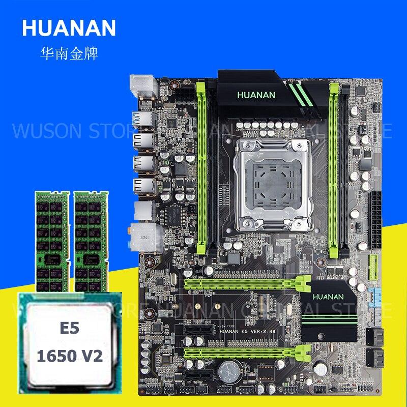 O hardware do computador de abastecimento ZHI HUANAN X79 motherboard com M.2 E5 1650 V2 slot de CPU Intel Xeon 3.5 GHz memória 16G (2*8G) 1600 ECC REG