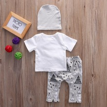 3 Pcs Clothing Set T-shirt Tops+Long Pants+Hat Clothes Set