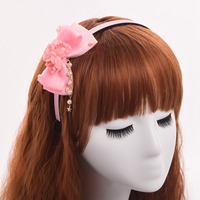 Women Lolita Flower Bow Hairband Romantic Fake Pearl Chain Headband Hair Accessory