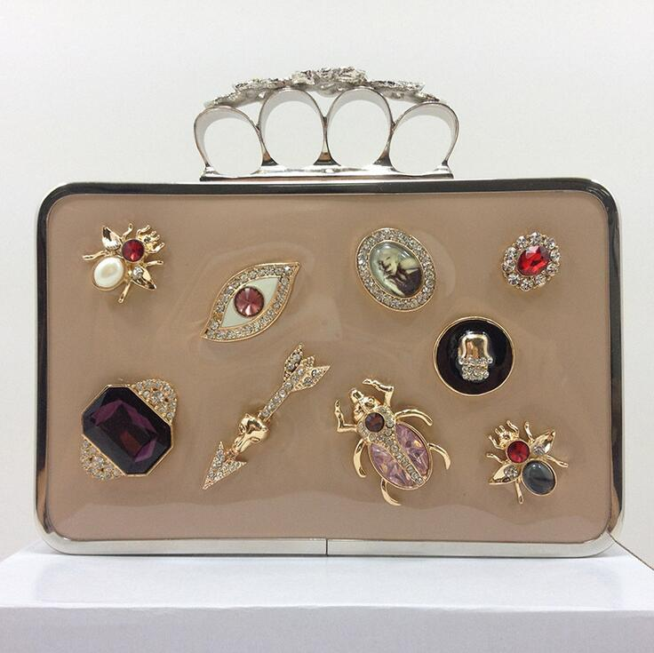 ФОТО New Metallic Fashion Woman's handbags Finger Rings Evening bags Day Clutches Girl's Party/Wedding Clutches Chain Should Bags
