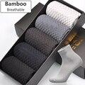 Men Bamboo Fiber Socks Brand New Casual Business Anti-Bacterial Deodorant Breatheable Man Long Sock 5pairs / lot