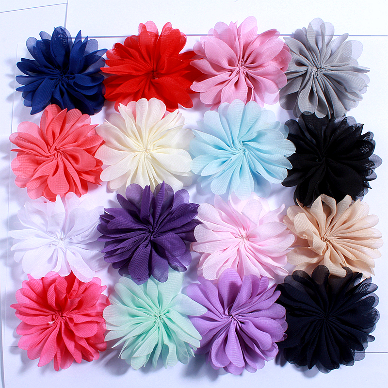 10PCS 6.5CM Polyester Fluffy Ballerina Chiffon Flower For Kids Dress Headband Shoes Accessories Sunflower Lace Fabric Flowers