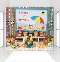 Photography Backdrop Summer Sea Beach Birthday Party Decoration Photo Booth Banner Baby Shower Background CZ 103