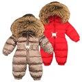 Rusia invierno bebé recién nacido Sudadera con capucha cuello de piel grande niños abrigo mono ropa de bebé Parka ropa de nieve niñas abrigos chaqueta
