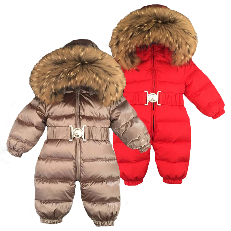 Russia Winter Newborn Baby Hoodie Big Fur Collar Boys Warm Outerwear Jumpsuit Baby Clothing Parka Snow Wear Girls Coats Jacket paul frank baby boys supper julius fleece hoodie