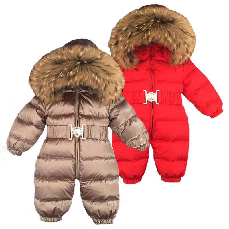 Russie hiver nouveau-né capuche pour bébé grand col en fourrure garçons chaud survêtement combinaison bébé vêtements Parka neige porter filles manteaux veste