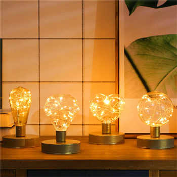 Ins Nordic Style Iron Home Office Led Night Lamp Copper Wire String Bulb Lamp AA Battery Retro Indoor Lighting Lampada - DISCOUNT ITEM  32% OFF All Category