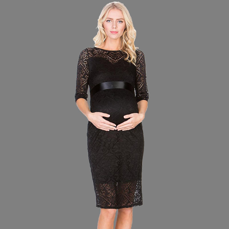 Sexy Lace Women Maternity Dress Elegant Casual Half Sleeve Evening Dress For Pregnant Women Pregnancy Dresses for Party lace embroidered floral print stylish scoop neck half sleeve two piece dress for women