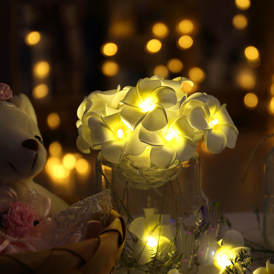 Battery Operated LED Flower Christmas Holiday String Lights For Valentine Wedding Decoration @