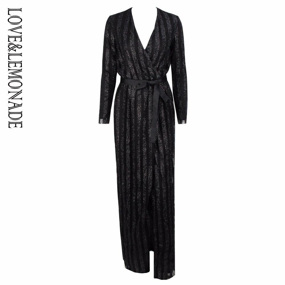 Love Lemonade Black Stripes Cross V Collar Body Long Dresses LM0611