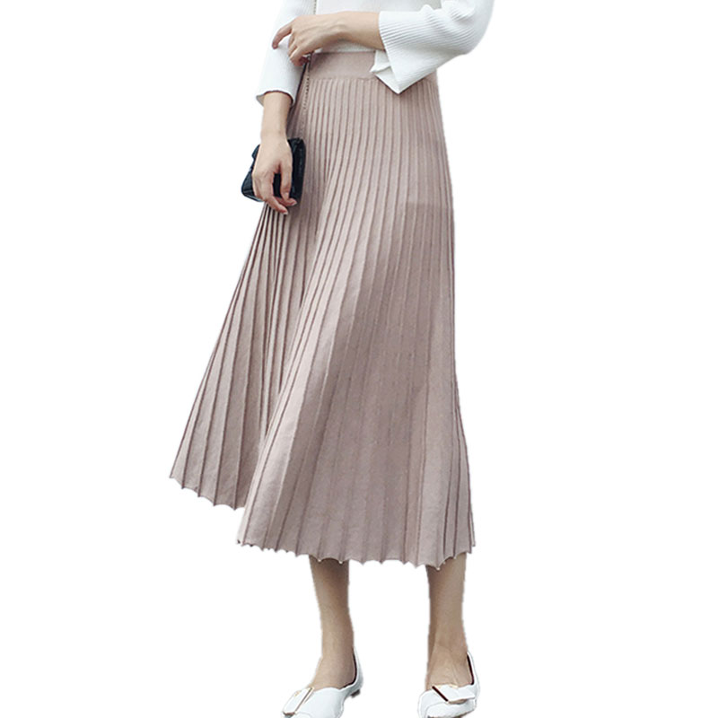 Elastic High Waist Long Pleated font b Skirts b font for font b Women b font