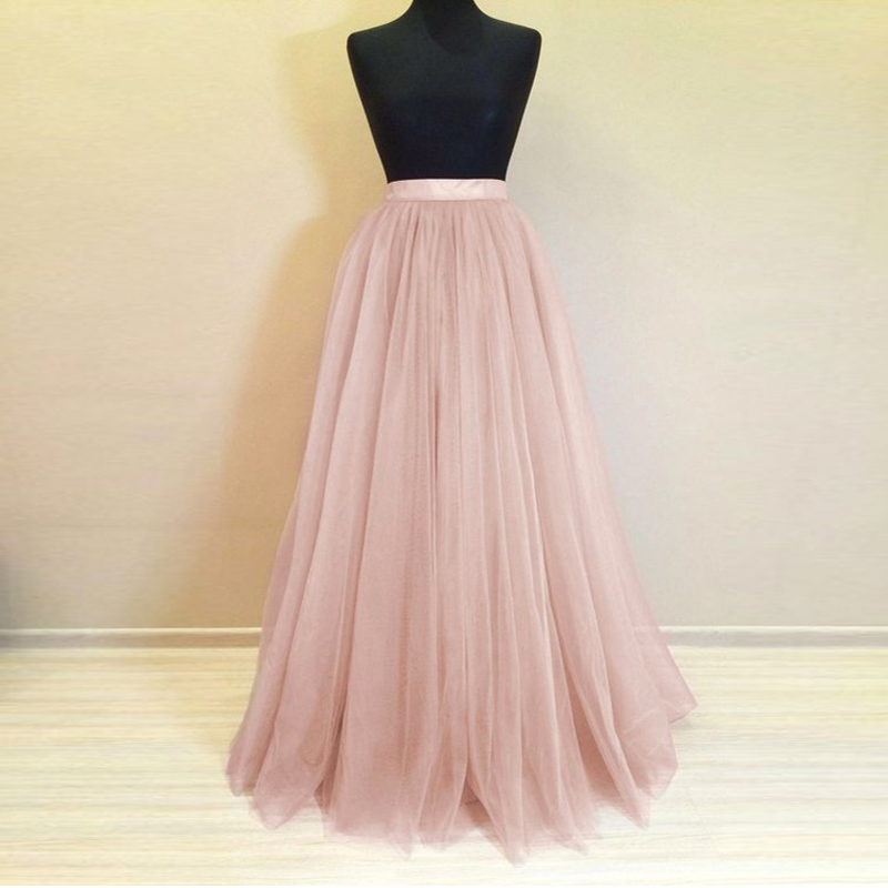 Real Photo Long Tulle Skirt Custom Made 5 Layers Rose Pink Maxi Bridesmaid Skirts For Wedding Party Pleated Skirt Plus Size Saia