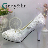 White Lace Flower Wedding Shoes Applique Super High Heel Crystal Slip on Round Toe Women Pumps for Party Banquet Bridesmaid