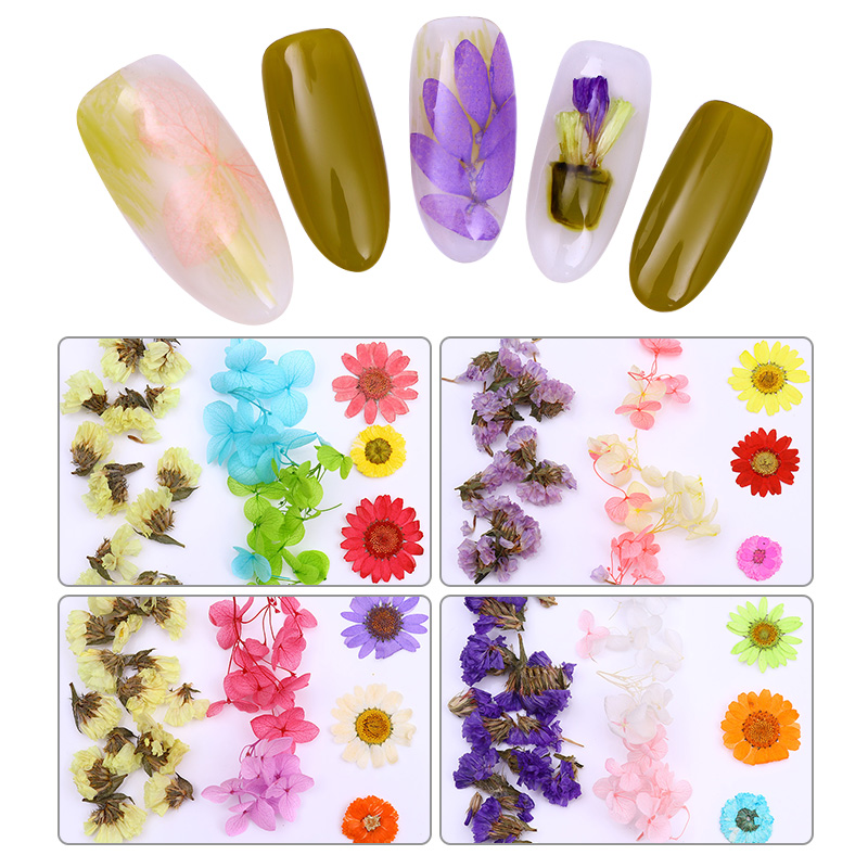 1 Box 3D Nail Art Decoration Colorful Dried Flower Preserved Flower With Heart-Shaped Box Manicure Design DIY Tips Accessories 1 box mini bubble caviar beads 1 3mm colorful clear pink purple 3d nail art decoration manicure nail accessories body art