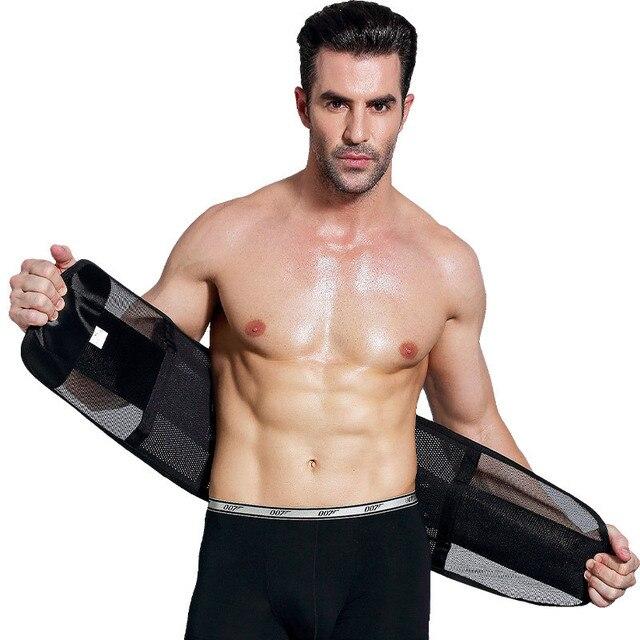 Sports Fitness Waist Support Slimming Belly Shaper Sweating Waist Band Elastic Pressure Bandage Adjustable Belt Training For Men 3
