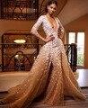 Elegante Sereia Vestido De Noite Cor Nude Tulle de Cristal Real Partido Ocasião Formal Vestido Longo Prom Com Tribunal