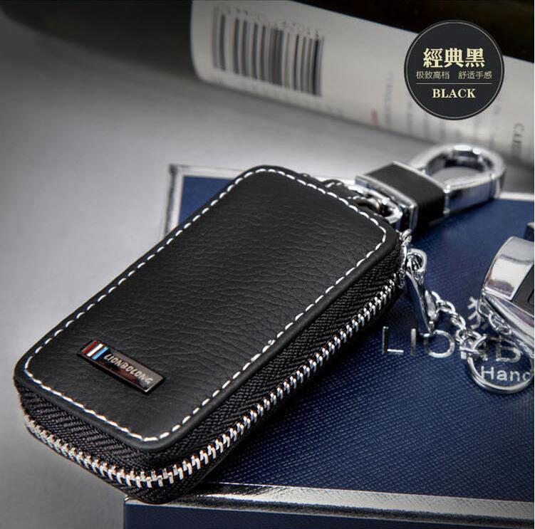 Luxury Car Key Ring Black Leather Key Wallet For Acura